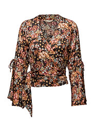 lucky draw flower blouse - ALMOST BLACK