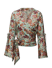 lucky draw flower blouse - TURQUOISE