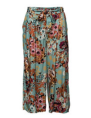 lucky draw flower pants - TURQUOISE