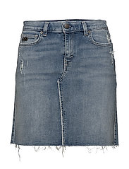 stretch-n-raw jeans skirt - BLUE