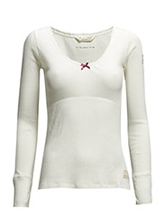 rib jersey l/s top - LIGHT CHALK