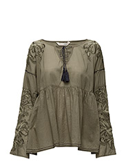 drift away l/s blouse - MILITARY
