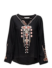 ticket to ride l/s blouse - ALMOST BLACK