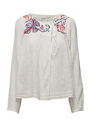 entertain l/s blouse - LIGHT CHALK
