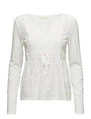 summer night l/s blouse - LIGHT CHALK