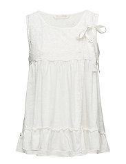 summer night sleeveless blouse - LIGHT CHALK