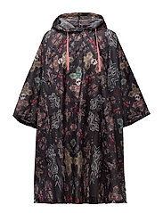 monsoon printed rainponcho - BLACK LAVA