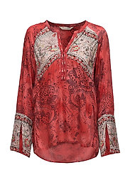 turned on blouse - RED