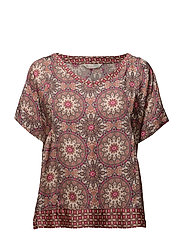 honey-coated s/s blouse - LIGHT MAHOGNY