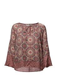 honey-coated l/s blouse - LIGHT MAHOGNY