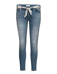 stretch it cropped jean - MID BLUE