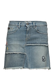 band jeans skirt - MID BLUE
