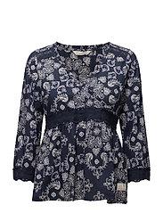 medley l/s blouse - DARK BLUE
