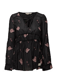 refrain l/s blouse - ALMOST BLACK
