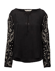 mood changer l/s blouse - ALMOST BLACK