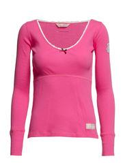 rib jersey l/s top - BRIGHT PINK
