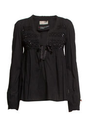 cotton embroided blouse - ALMOST BLACK