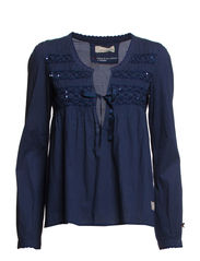 cotton embroided blouse - DARK BLUE