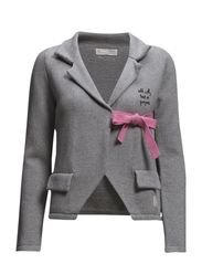 solid lovely knit jacket - LIGHT GREY MELANGE
