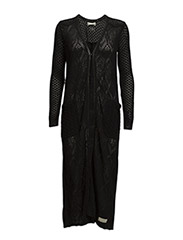 hello knitty long cardigan - ALMOST BLACK