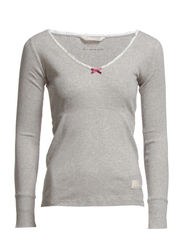 rib jersey l/s top - LIGHT GREY MELANGE