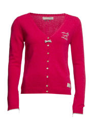 basic v-neck cardigan - CERISE