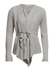 wrapper knit cardigan - LIGHT GREY MELANGE