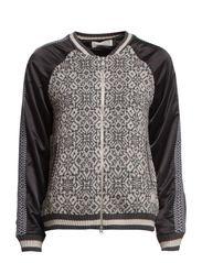 varsity knit jacket - GREY