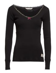 rib jersey l/s top - ALMOST BLACK