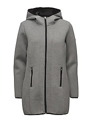 onpKYA HOOD LONG JACKET - MEDIUM GREY MELANGE
