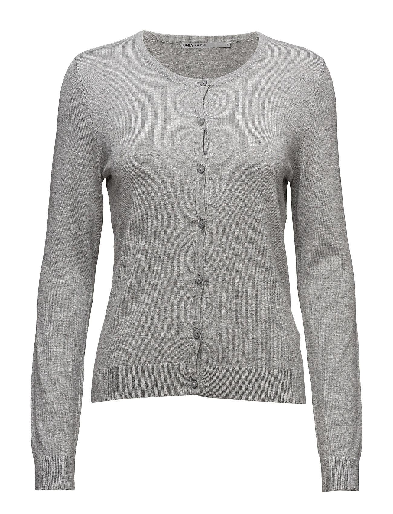 Onlbella L/S Button Cardigan Knt Noos ONLY Striktøj til Kvinder i Light Grey Melange