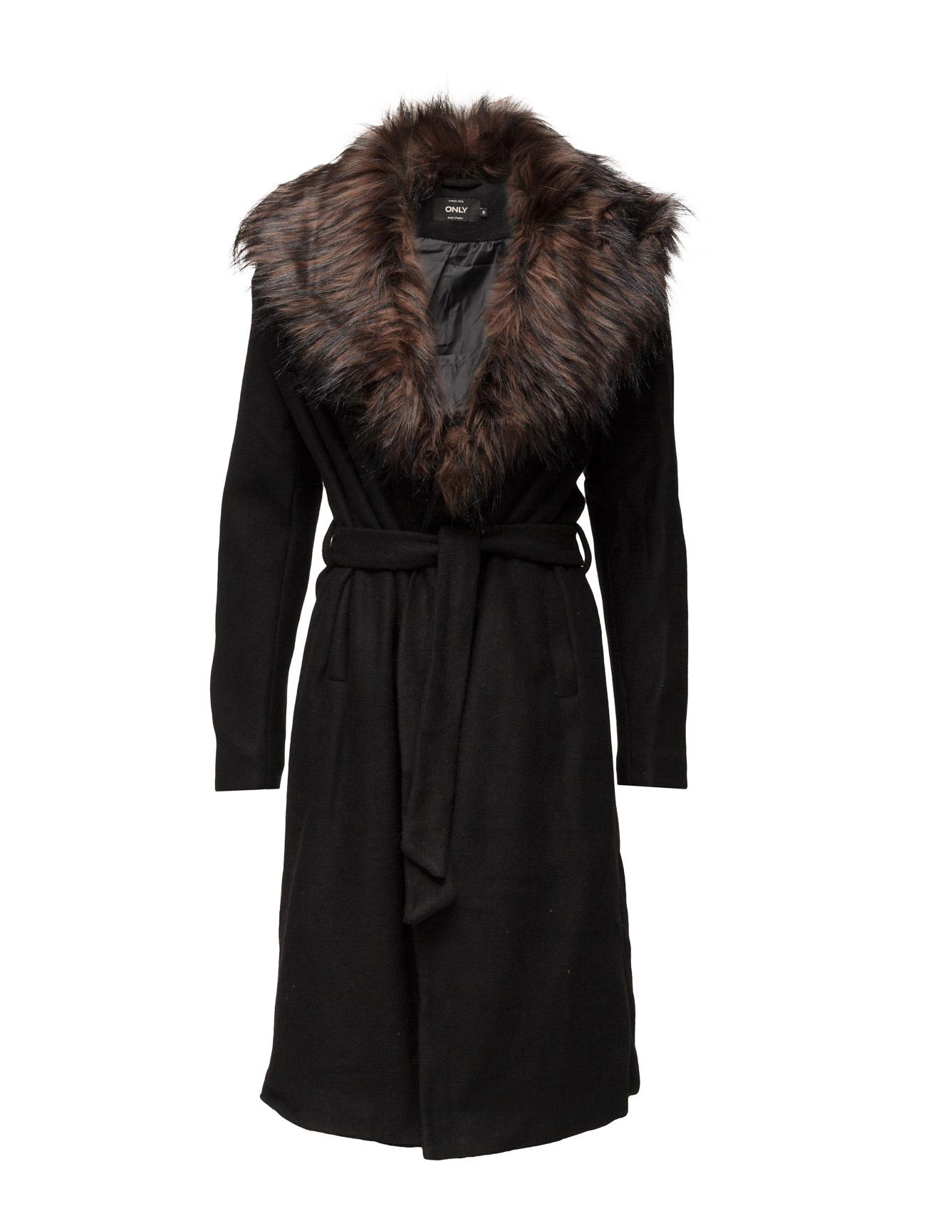 Onlnew Scoop Drapy Fur Coat Otw ONLY Frakker til Kvinder i Sort