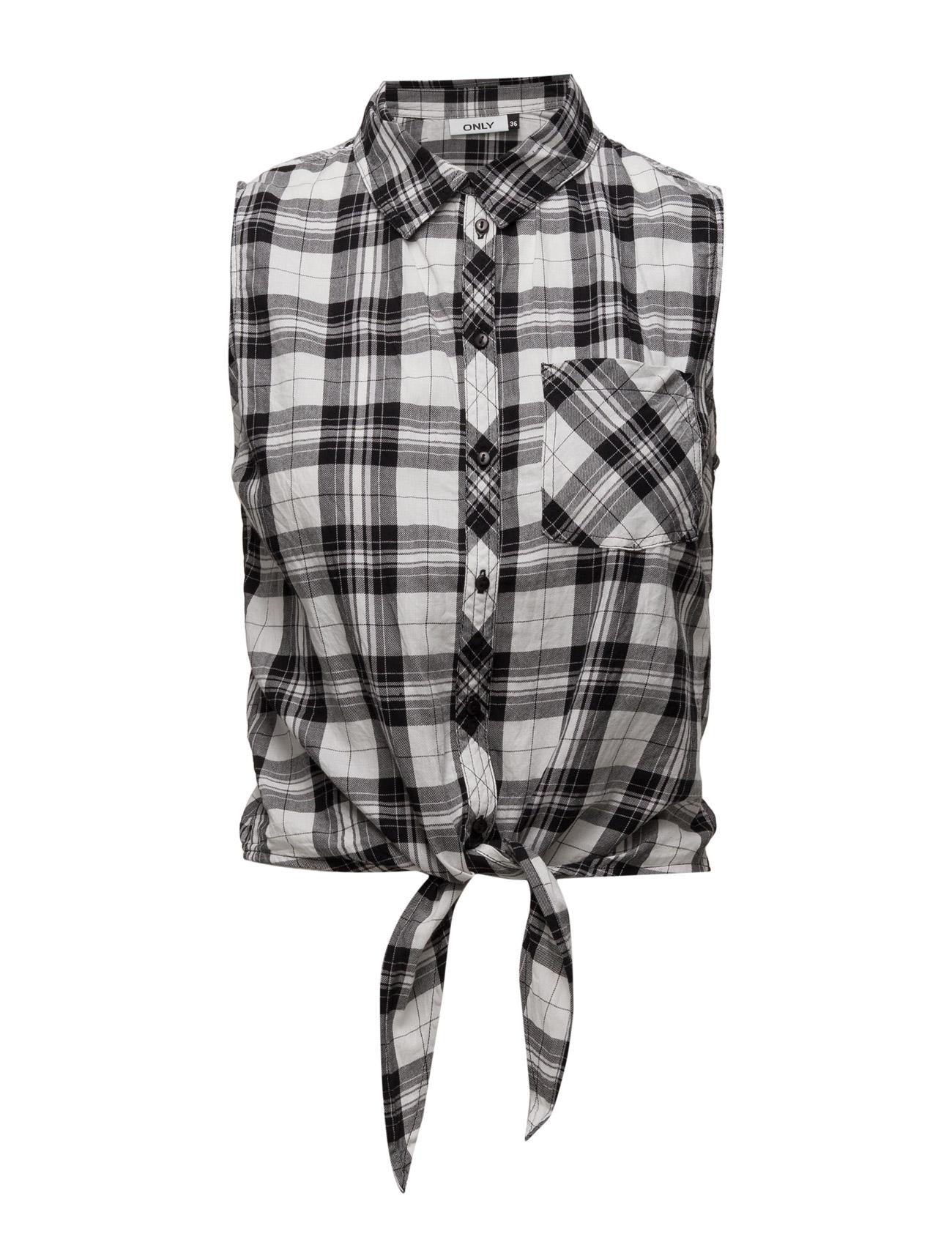 Onlpaula S/L Tie Shirt Wvn ONLY ®rmeløse til Kvinder i Cloud Dancer