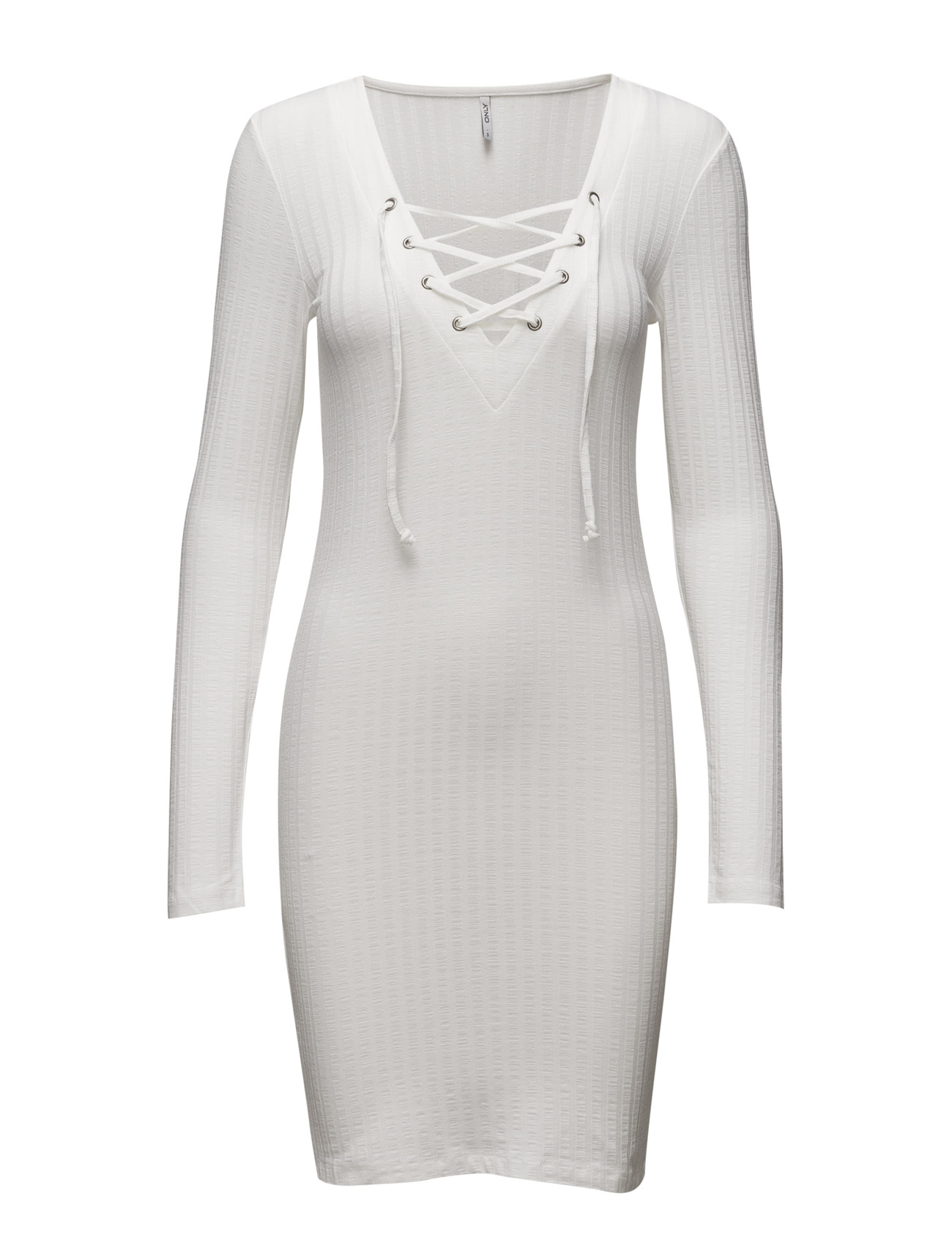 Onlrikki L/S Lace Up Dress Jrs ONLY Korte kjoler til Kvinder i Cloud Dancer