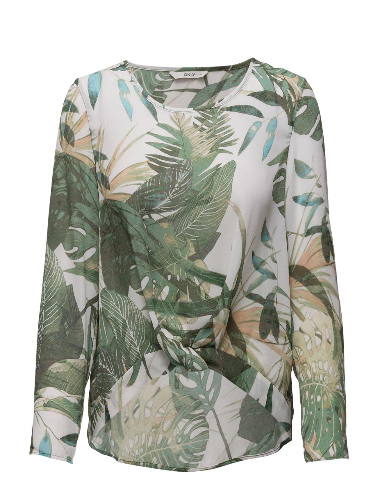 Onlfifer L/S Highlow Top Plant Wvn ONLY T-shirts & toppe til Kvinder i Cloud Dancer