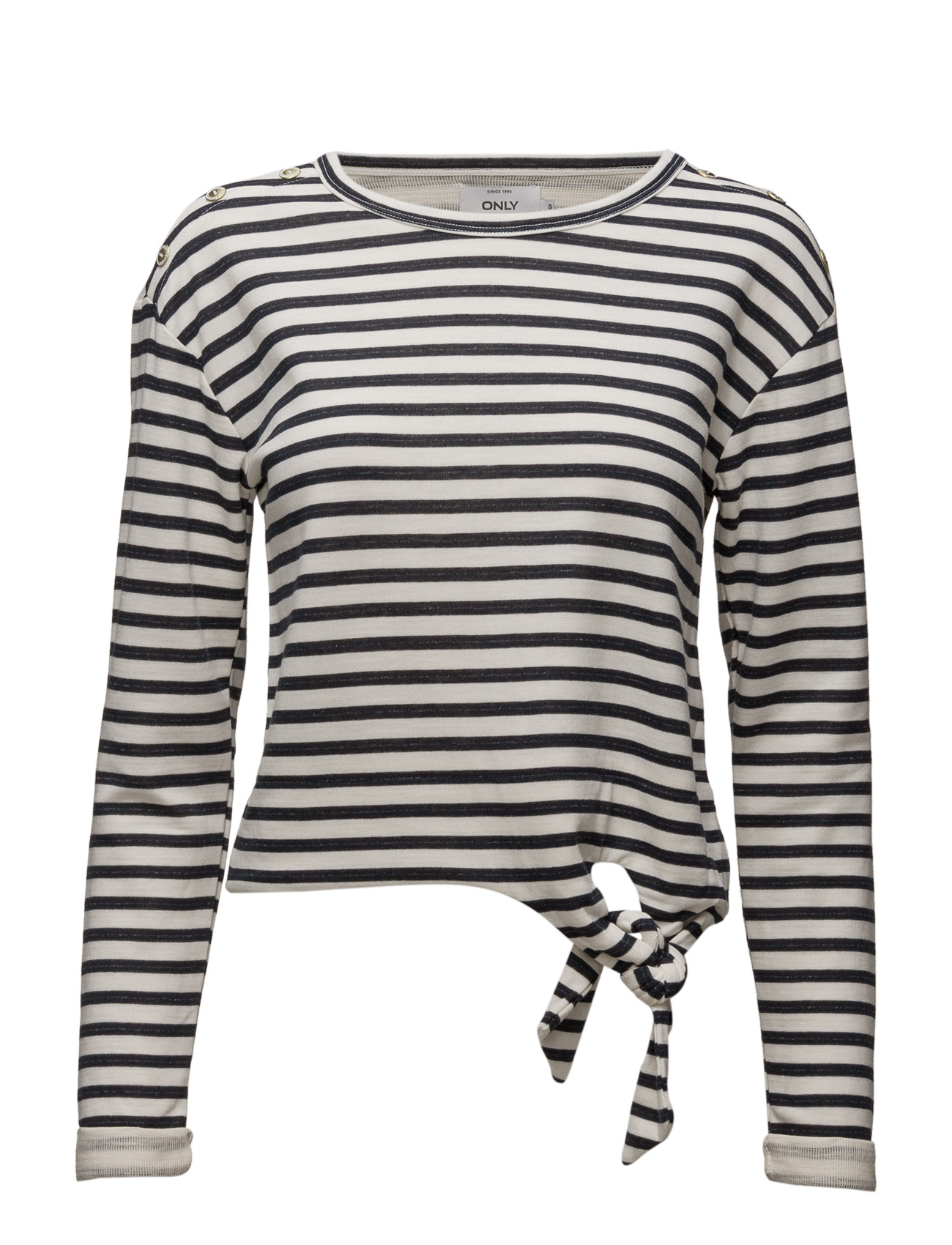 Onlamy L/S Short Stripe Knot Swt ONLY T-shirts & toppe til Kvinder i Cloud Dancer