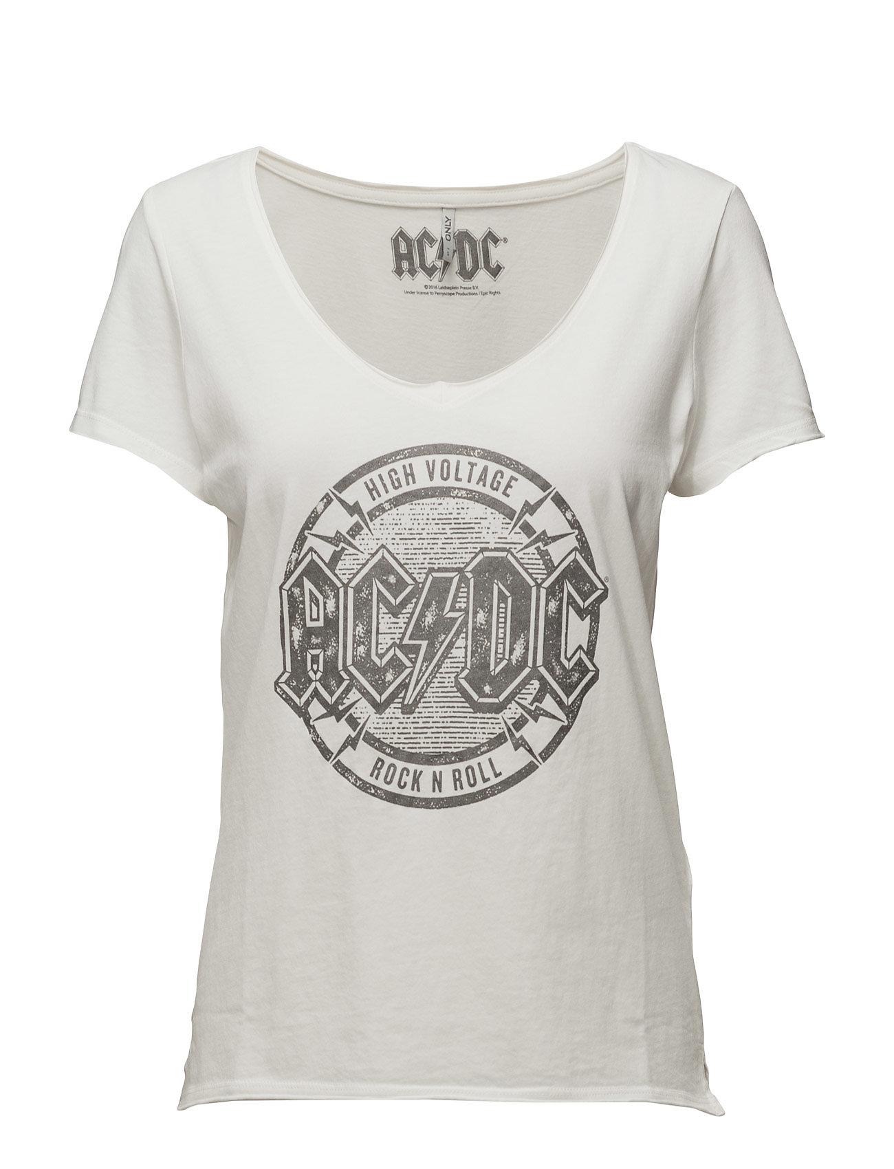 Onlrock S/S Acdc/Rolling Top Box Ess ONLY T-shirts & toppe til Kvinder i