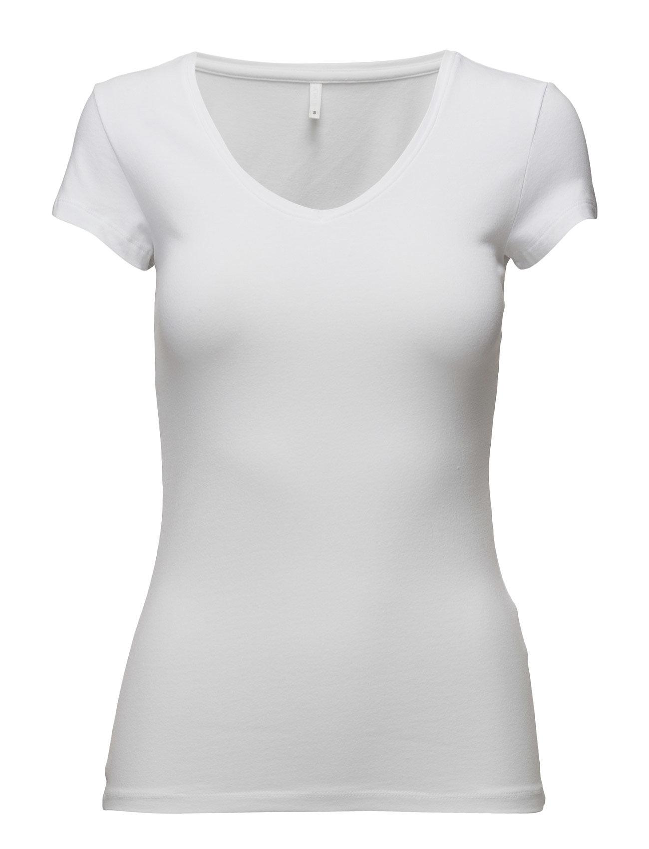 Onllive Love New Ss V-Neck Top Noos ONLY T-shirts & toppe til Kvinder i hvid