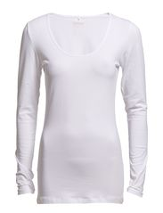 live love long o-neck ls top rpt - WHITE