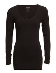 live love long o-neck ls top rpt - BLACK