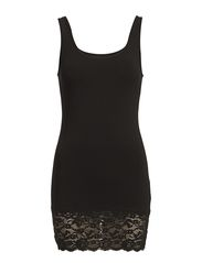 LIVE LOVE LONG LACE TANK TOP NOOS - BLACK