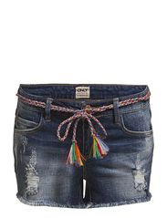 PRINCE J LOW BRAIDED BELT SHORTS CB6078 - DENIM