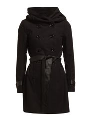 NEW LISA  WOOL JACKET  PU BELT OTW BB - Black