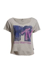 PLAY MTV ANIMAL CROPPED SS TOP - Light Grey Melange