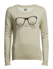 FUNNY CAT L/S PULLOVER KNT - Oatmeal