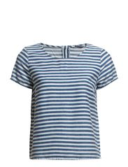 SILLE STRIPED DNM TOP - Medium Blue Denim