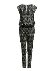 D2 FOLK AROMA PIPING JUMPSUIT WVN - Black