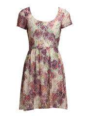 ROSE LACE S/S AOP DRESS JRS - Whisper White