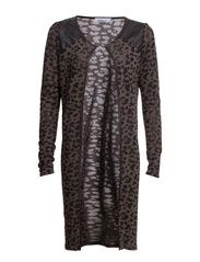 LEOPARD L/S LONG CARDIGAN KNT - Dark Grey Melange