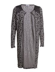 LEOPARD L/S LONG CARDIGAN KNT - Light Grey Melange